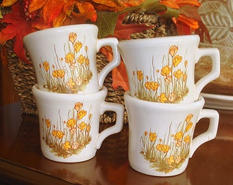 Toy Small Stoneware Mugs Four (4) in Set Pretend Play Child's Tea Party Adult Drinkware Cappuccino Espresso Expresso Serving