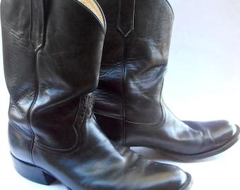 Vintage Roper Farmer Black Leather Boots Mens Cowboy Rios Of Mercedes Pecos Equestrian U.S. Shoe Size 10EE Western Southwestern Riding Work