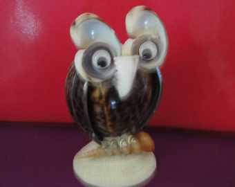 Sea Shell Seashell Tiger Owl Figurine