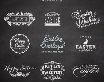 Easter Overlay Chalkboard design elements - Easter chalk Overlays - Easter Clip Art - Chalk Clipart