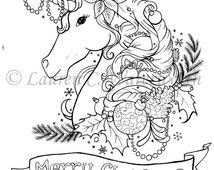 unique victorian baubles related items etsy Disney Christmas Coloring Pages  Christmas Unicorn Coloring Pages