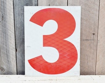 Vintage Metal Numbers 2 & 3 Two Three Gas Station Sign Red White Service Station Double Sided Industrial Garage