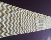 Gray and White Chevron Table Runner 90 x 13