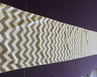 Gray and White Chevron Table Runner 90 x 13