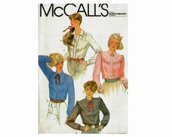 1980s Uncut Sewing Pattern Blouse Ruffle Yoke Classic Shirts Size 16 Bust 38 80s Sewing Pattern McCalls 7211