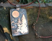 Forest Skyline Moon and Stars Necklace / Handcrafted Etched Copper Pendant- Custom Option for Etched Mantra