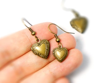 Lovely Heart Locket Earrings - Antiqued Brass Vintage Style Heart Locket Dangle Earrings - Gifts Ideas - Locket Earrings - Heart Earrings