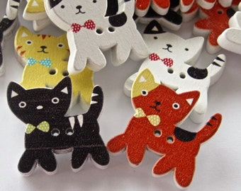 Mixed Kitty Cat Wood Buttons Lot of 10