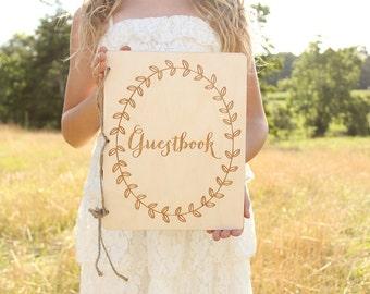 Guestbook Rustic Wood Guestbook Wedding Guest Book Rustic Baby Shower Guestbook Bridal Shower Guestbook Laurel Wreath Guestbook