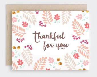 Thankful For You Cards Set of 10 - Illustrated Autumn Thanksgiving Cards, Fall Anniversary Card, Recycled Card - Hand Drawn Leaves