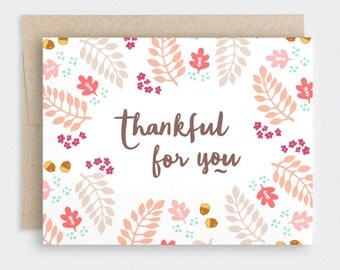 Thankful For You Card - Illustrated Autumn Thanksgiving Cards, Fall Anniversary Card, Recycled Card - For Him, Her - Hand Drawn Leaves