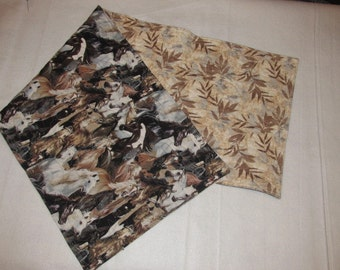 Handmade Quilted Table runner Ranch rodeo Horses Leaves Brown Reversible Cowboy