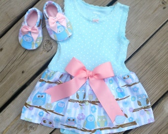 Owl Bodysuit Dress with Matching Crib Shoes / Baby Girl