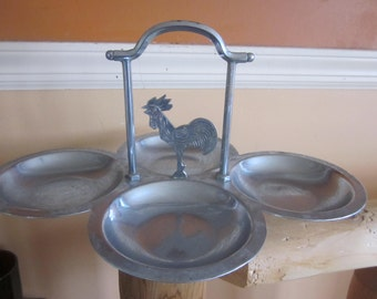Farberware chrome crowing rooster serving dish,,,deco chrome