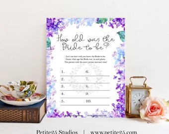 How old was the bride, Wedding bridal shower game, purple lavender, blue lilac hydrangea, instant download, printable