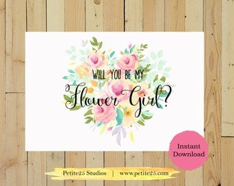Will You Be My Flower Girl Printable, Wedding Card, Bridesmaid Proposal, DIY Wedding, Digital Download, Instant Download
