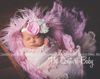 Singed Pink Flower Ivory Eyelet Lace & Pearls Feather Headband  Preemie Newborn Infant Toddler Child Adult
