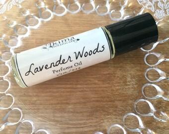 LAVENDER WOODS Premium Artisan Perfume Oil ~ lavender, cedar, chamomile, sandalwood ~ No alcohol, parabens, preservatives ~ gift or travel