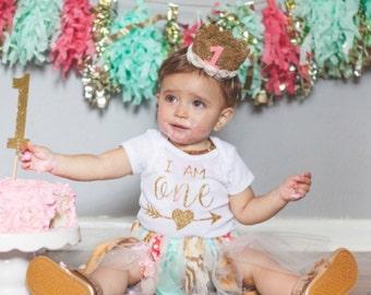 Glitter Birthday Onesie/ One/ Birthday Onesie/ Girls First Birthday Onesie
