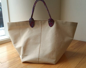 Natural Cotton Canvas French Market Bag