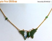 BIG SALE Beautiful Vintage Gold Tone Metal Carved Jade Butterfly Necklace