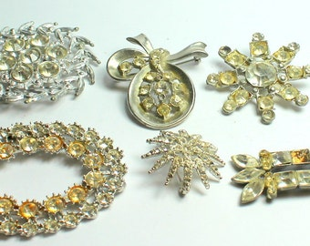 Lot of Vintage Grungy Clear Rhinestone  Pot Metal Jewelry Pieces