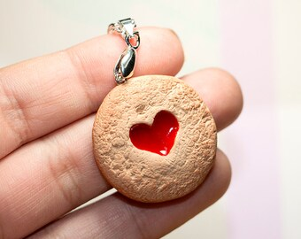 Valentine's - Heart Jelly Cookie - Polymer Clay Necklace