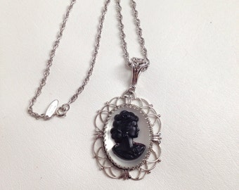 Vintage Cameo Pendant Necklace. Whiting Davis. Big Silver Tone Pendant and Chain. Gorgeous.