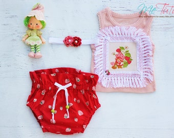 Vintage BoHo Bo Ho  'Strawberry Shortcake' Pink Red 3 Piece High Waisted Bloomer Nappy Cover Tank Top Headband Baby Girl Set Ready To Ship
