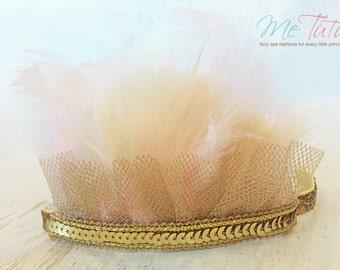 Vintage Shabby Chic Sequin Gold, Pink and White Feather Headband Headdress Baby Child Girls
