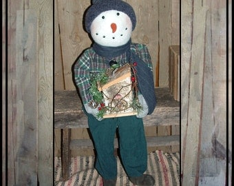 Sale Large tall primitive folk art snowman carrot nose wooden birdhouse green HAFAIR ofg faap haguild AFTERXMASFAAP