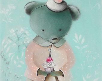 Mouse kids rooms, Mouse wallart PRINT, Kids room art, Cute animal art, whimsical nursery art for girls room Nursery Art for Kids Room Decor