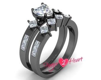 2.80 Ct White Heart Shape CZ Engagement Ring Set 925 Sterling Silver Bridal Wedding Ring & Band Set 10K Black Gold Finish Promise Ring Set