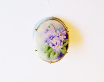 Vintage Brooch Handpainted Flowers Lavender 1940s Gift for Her Mom Birthday Christmas