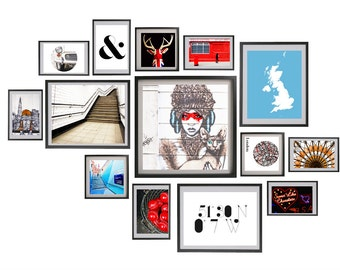 "London gallery wall art, London photography set, large travel photography set - ""Graphic London"""