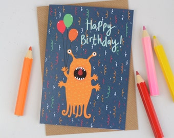 Alien Birthday Card, Childrens Alien Birthday Card, Kids Birthday Card, Illustrated Greetings Card, Cards for Children