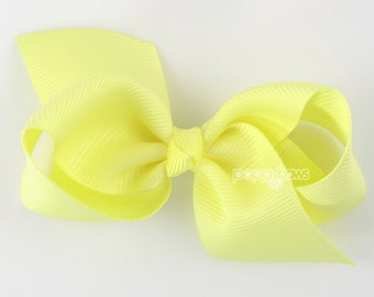 Girls Hair Bow - light yellow hair bow - Loopy Bows - large hair bows - big hair bows - bows for girls - toddler hair bows - 3.5 inch bows