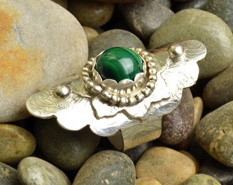 Malachite Boho Style Ring Sterling Silver