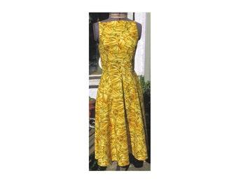 banana print audrey hepburn style dress