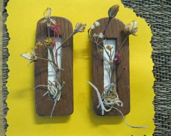 Doll House Miniature Dried Flower Wall Hanging #20 Set Of Two