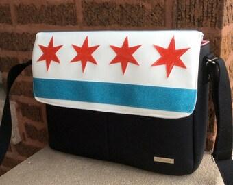 Chicago Flag Messenger Bag / Medium Messenger Bag / CHICAGO PRIDE / Swoon Patterns Dorian