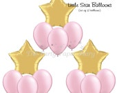 Twinkle Twinkle Little Star Party Balloons, Pink and Gold Birthday Balloons, Twinkle Balloons, Gold Star - SHIPS IN 1 - 3 Business Days