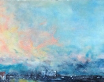 Original Encaustic art Beeswax Painting - Floridian Sunset - 12x36 panoramic wax art by L. Merriman - St. Louis Wax Works