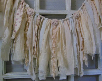 fabric banner, shabby garland, nursery decor, window swag, pink, floral, fringe banner, neutral