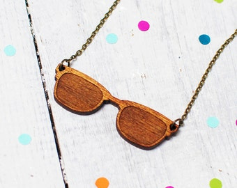 Sunglasses Necklace   Wayfarers   Wooden Sunglasses