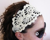 SALE 15% OFF SALE Summer Head Band - Crochet Headband-   Hair Fashion Accessories - handcrochet headband in Ivory Color