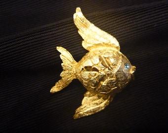 Vintage Estate GOLD FISH BROOCH With Blue Eye