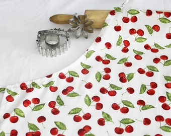 Cherries on White Adult Apron