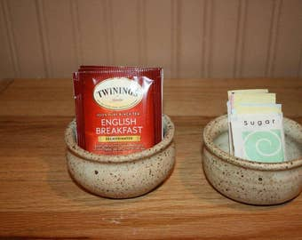 Set of 2 handmade bowls, tea bag holder, sugar packet holder, change holder, trinket bowl