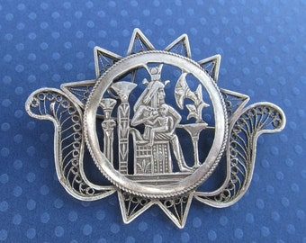 ON SALE Vintage Silver Egyptian Isis And Horus Filigree Brooch Revival Pin Jewelry